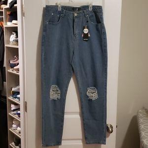 Boohoo distressed mom jeans